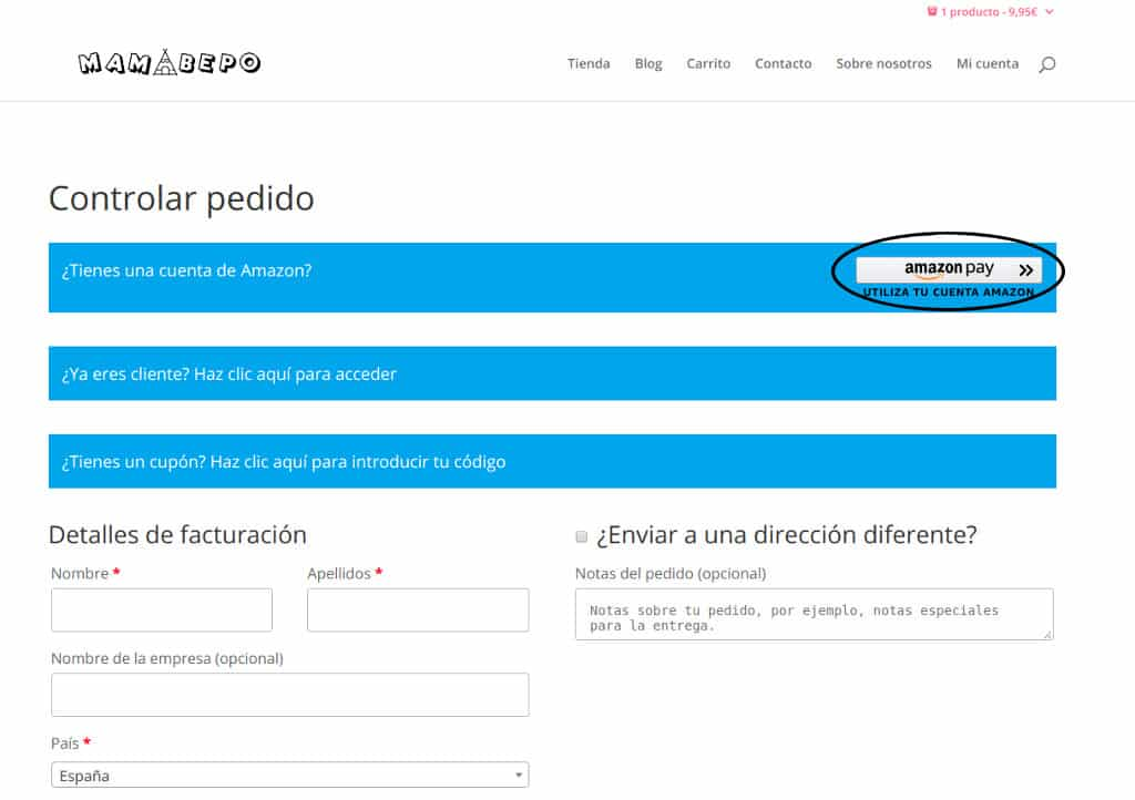 Métodos de pago Mamabepo - Amazon pay 1