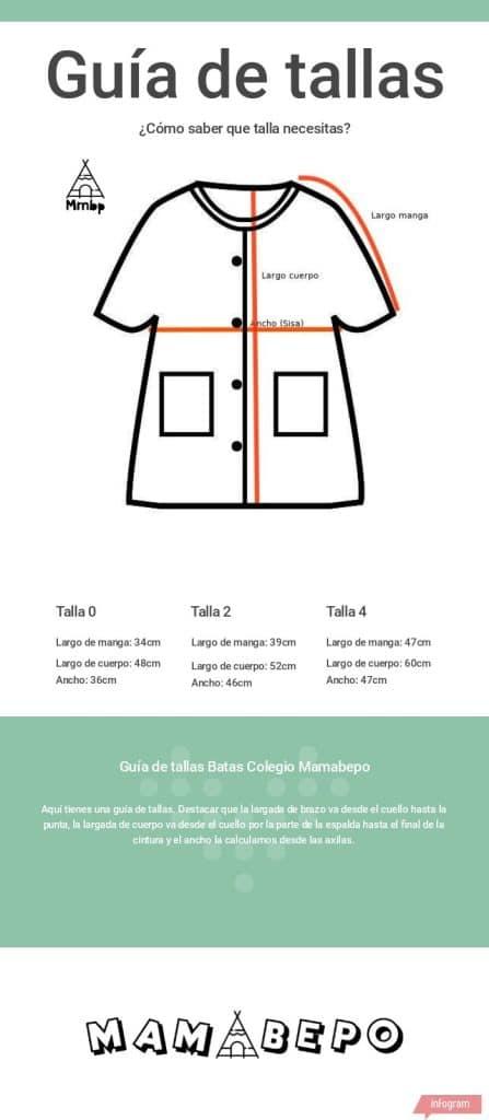 Size guide school overalls