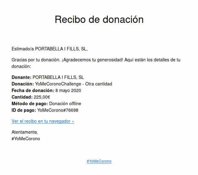 Donación #yomecorono
